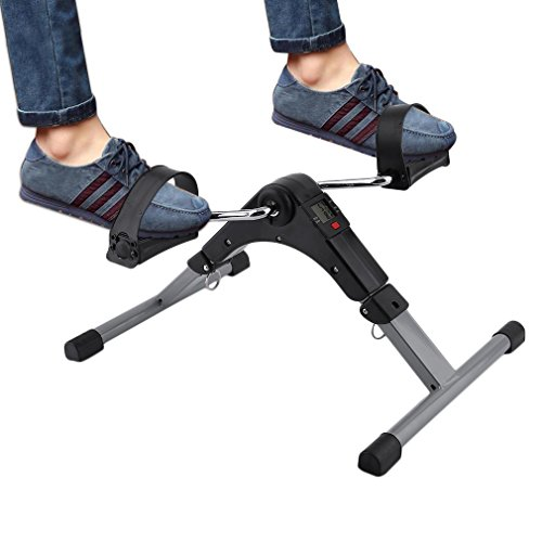 Homgrace Foldable Pedal Exerciser, Portable Arm Leg Exercise Peddler Machine with Electronic Display Folding Exercise Bike for Seniors and Elderly
