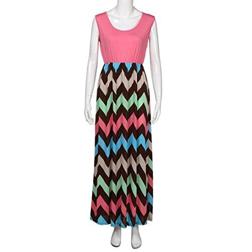 ❀ Damen kleider elegant lang ❀ Damen kleider sommer ❀ Womens Striped Long Boho Kleid Lady Beach Sommer Sommerkleid Maxikleid Rosa voxoEDC3P4