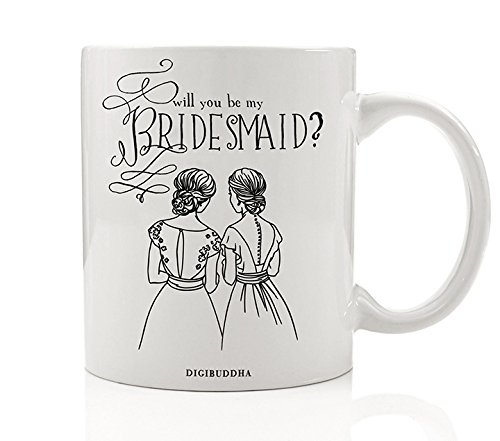 Bridesmaid Mug, Will You Be My Bridesmaid? Quote Fun Wedding Party Proposal  Present to Ask Best Friend from Bride Gift Idea for Sister Woman Her Women  ...