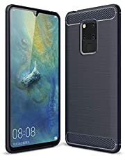 YOTO AYSMG Brushed Texture Carbon Fiber Soft TPU Case for Huawei Mate 20 X(Black) (Color : Navy Blue)