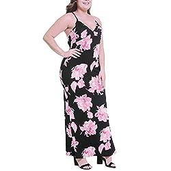 Todaies Women S Striped Long Dress Fashion Sexy V Neck Floral Print Sleeveless Camis Long Dress 4xl Pink