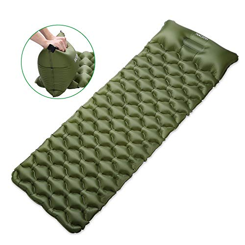 NACATIN Inflatable Sleeping Pads, Ultralight Air Mattress Camping Mat with Integral Pillow for Backpacking, Max Load 330lb Compact Hiking Sleeping Pads