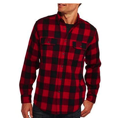 Faded Glory Classic Red and Black Plaid Men's Cotton Flannel Shirt (Large (Red Flannel)