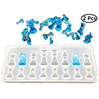 Resin Casting Molds Set by Garloy,2Pcs 3D Chess Clear Silicone Mold for Making Polymer Clay, Crafting, Resin Epoxy
