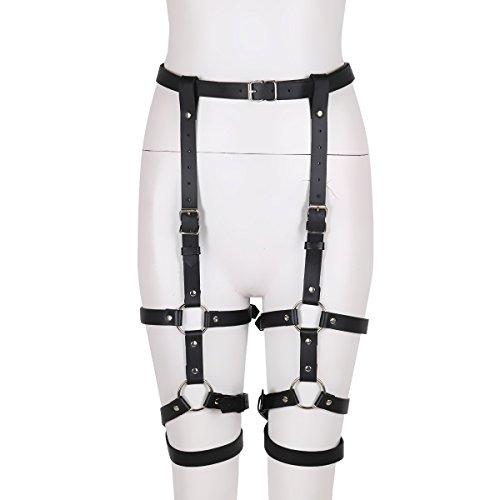 iiniim Womens Adjustable PU Leather Body O-rings Harness Stud Punk Gothic Garter Belt