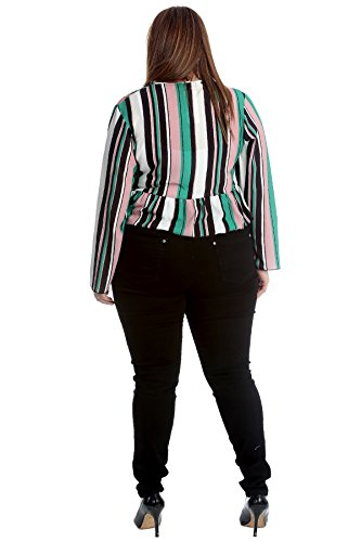 Nouvelle Collection Stripes Print Frill Shrug Teal 26-28 by Nouvelle Collection (Image #3)