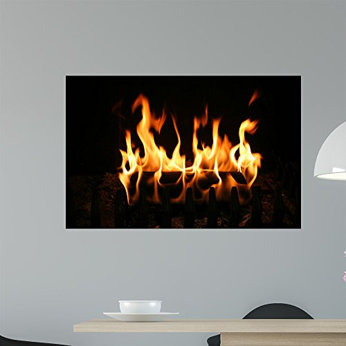 Wallmonkeys Burning Log Wall Decal Peel and Stick Graphic WM270387 (36 in W x 23 in - Wall Log