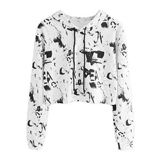 VICGREY Felpe con Cappuccio Donna, Donna Autunno Inverno Maglietta Manica Lunga Stampa Felpa Camicetta Donna Felpa Elegante Camicia con Cappuccio Pullover per Ragazza Bianco