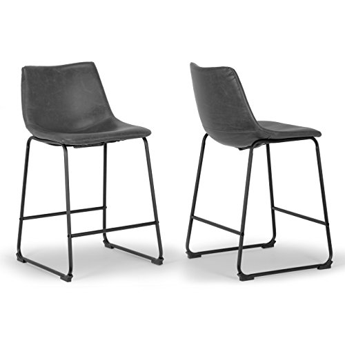 Set of 2 Adan Iron Frame Vintage Grey Faux Leather Counter Stool