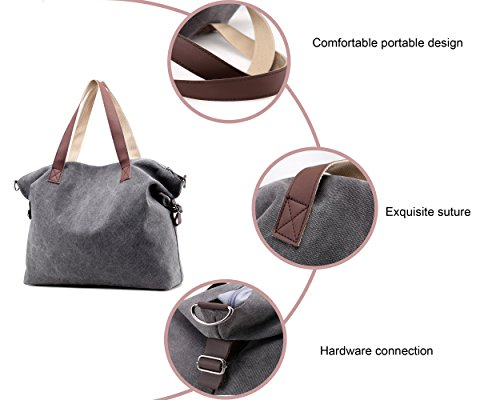 CHIKENCALL Handtaschen für Frauen Lässige Canvas Umhängetaschen Top Griff Strandtasche Geldbörse Crossbody Einkaufstasche Schwarz 9F4tph