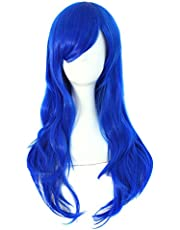 """MapofBeauty 28"""" 70cm Long Curly Hair Ends Costume Cosplay Wig (Blue)"""