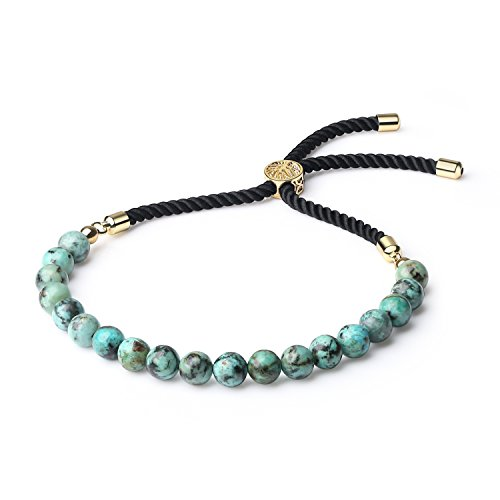 COAI Blue Stone Africa Turquoise Bolo Bracelet for Men Women by COAI