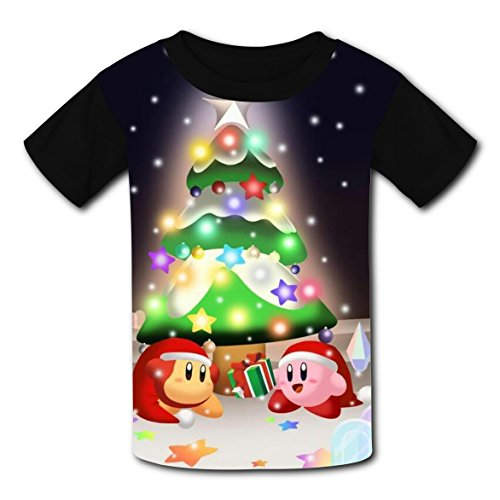 Price comparison product image Cheer for Xmas Eve Kirb-by Kids Graphic Short Sleeve T-shirts Crew Neck Tees for Boys Girls S