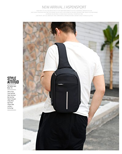Unisex Crossbody Bolsas para Hombres/Mujeres/Niños/Niñas antirrobo pecho Pack bolsa de hombro, impermeable, morado negro