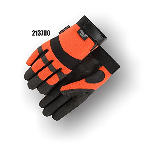 (12 Pair) Majestic SYNTHETIC PALM GLOVES WITH HIGH VISIBILITY BACK AND VELCRO - MEDIUM, ORANGE(2137HO/ 9)