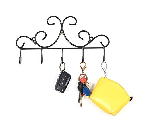 Wall Mounted Metal Hooks/Hangers - Door Hangers/Hooks - Decorative Organizer Rack with 6 Hooks for Keys Clothes Coats Hats Belts Towels Scarves Pots Cups Bags Kitchen Bathroom Garden (Black) (LSYY001) ()