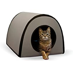 """K&H Pet Products Mod Thermo-Kitty Heated Shelter Gray 21"""" x 14"""" x 13"""" 25W Great for Outdoor Cats"""