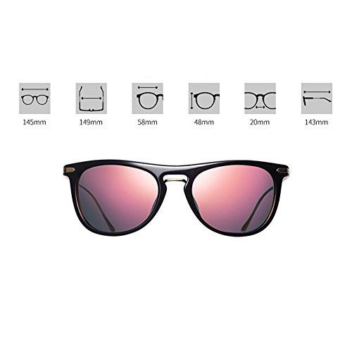 lentille A de soleil en hommes polarisées soleil protection Plastique de ronde Memory boîte visage rétro de nylon lunettes Lady lunettes UV soleil pilote Plate miroir lunettes lunettes qqxFAwg