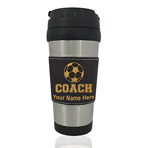 Travel Mug - Soccer Coach - Personalized Engraving Included (Black) by SkunkWerkz