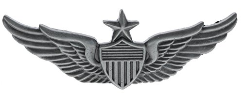 Sujak Military Items Senior Aviator Pilot Wings Antiqued Silver Finish 2 1/4 inch hat Lapel pin HON16151