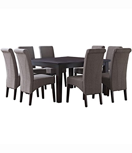 Simpli Home AXCDS9-AVL-LML Avalon Contemporary 9 Pc Dining Set with 6 Upholstered Dining Chairs in Light Mocha Linen Look Fabric and 54 inch Wide Table
