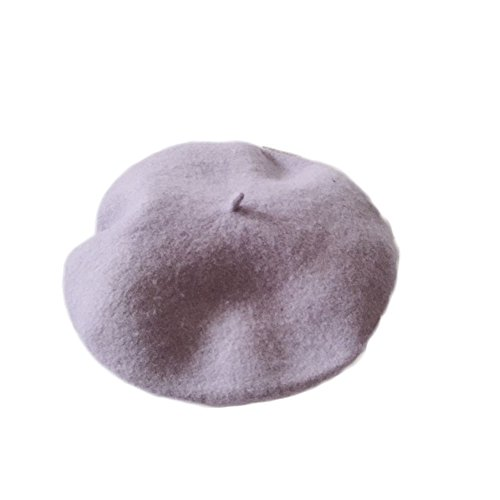 WeeH Beret Hat for Women Gril Winter Hats Wool Classic Vintage Beanie Cap, Grey