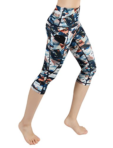 ODODOS High Waist Out Pocket Printed Yoga Pants Tummy Control Workout Running 4 Way Stretch Yoga Leggings,FineArt, Large