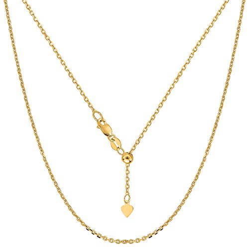 14k Yellow Gold Adjustable Cable Chain Necklace, 0.9mm, 22