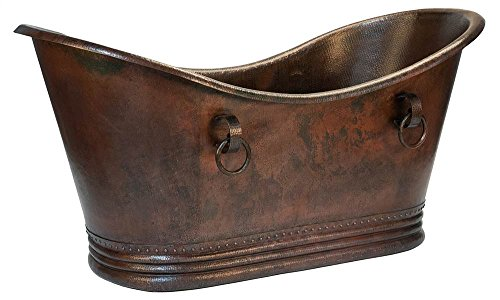 Premier Copper Products 72 in. Hammered Copper Double Slipper Bathtub with ()