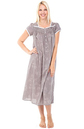 Alexander Del Rossa Womens 100% Cotton Lawn Nightgown, Cap Sleeve Sleep Dress, X-Large Floral Chambray (A0585V86XL)