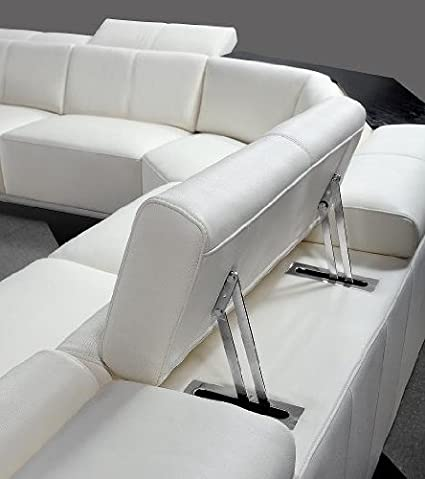Amazon.com: Tempo White Top Grain Italian Leather Living Room Sectional Sofa  With Adjustable Headrests: Kitchen U0026 Dining