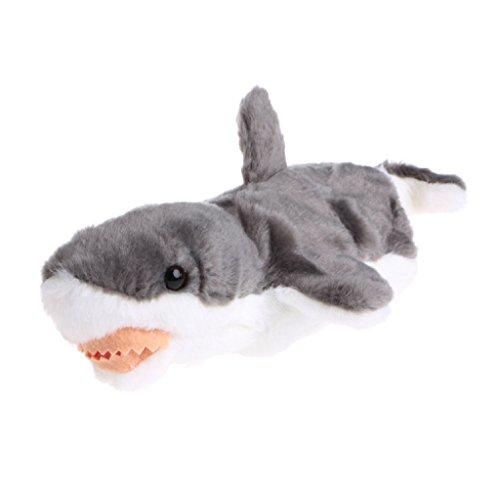 Zebra Hand Finger Puppet Toys Cartoon Animal Plush Shark Doll Gift For Baby Kids (gray)