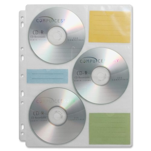 Compucessory CD/DVD Ring Binder Storage Pages - 6 CD/DVD Capacity - 9 x Holes - Polypropylene - 25 / Pack - Clear