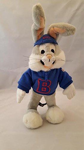 Warner Brothers Studio Store 15 Poseable Bugs Bunny Plush wearing a sweatshirt and backwards baseball cap