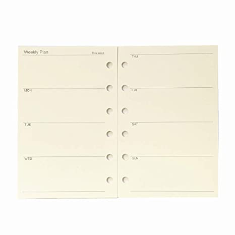 A7 Planner Refill, A7 Agenda Refill for Filofax,6 Hole/100gsm,4.84 x 3.23, Harphia