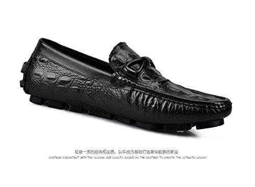 Happyshop (tm) Äkta Läder Croco Tillfällig Spänne Slip-on Kör Dagdrivare Mode Mens Båt Skor Just Cavalli Svart (8532)