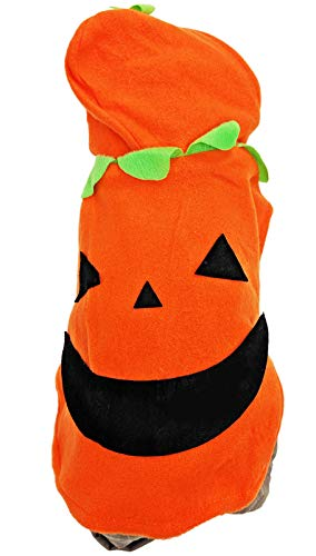 Halloween Hooray Pumpkin Dog Costume for Small Pet Cat Puppy with Fleece Hoodie Warm Autumn Pajama Outfit Apparel