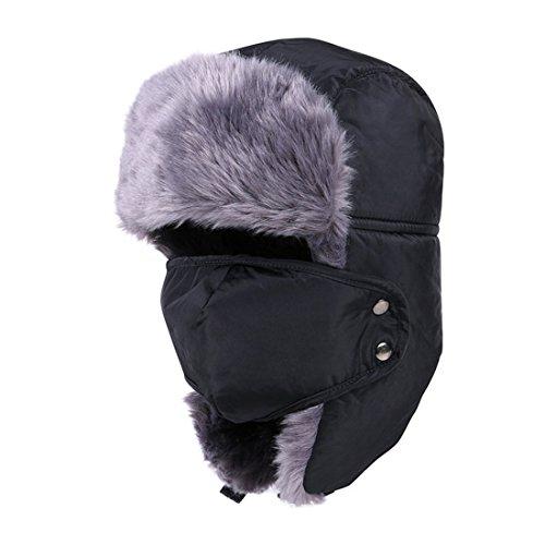 23 Earmuff (MAYMII Vintage Unisex Men Women Nylon Russian Style Winter Warm Ear Flap Earmuffs Aviator Pilot Hat Cap with mask (Black))