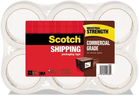 """1.88/"""" x 54.6 Yd. Clear 3.1 mil Pack of 6 Rolls Scotch 3750 Shipping Tape"""