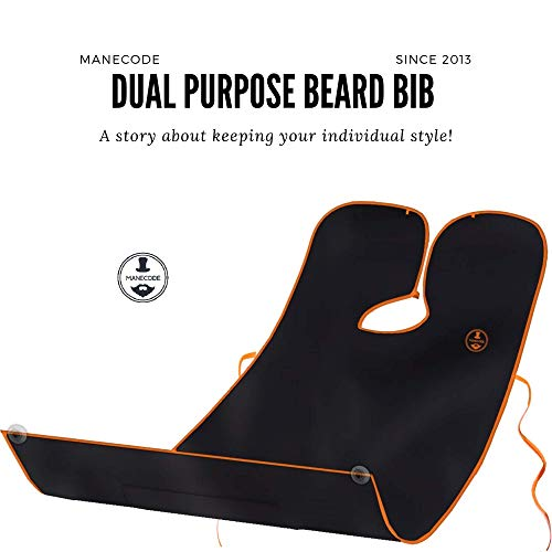Beard and Body Shaving Bib - Dual Purpose Trendy Designed Apron - Clean Hair Catcher for Men with Self-Packing Pouch and Built in Mirror Suction Cups