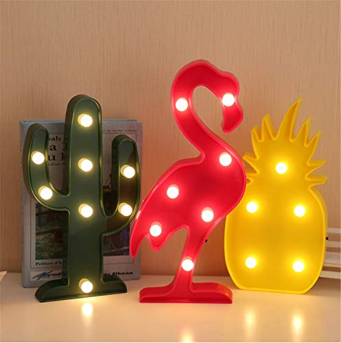 UNIQUE-F Cadena de Luces Flamingo Piña Cactus Árbol de Coco Caja de batería LED Decoración del día de Navidad 2 Tipos