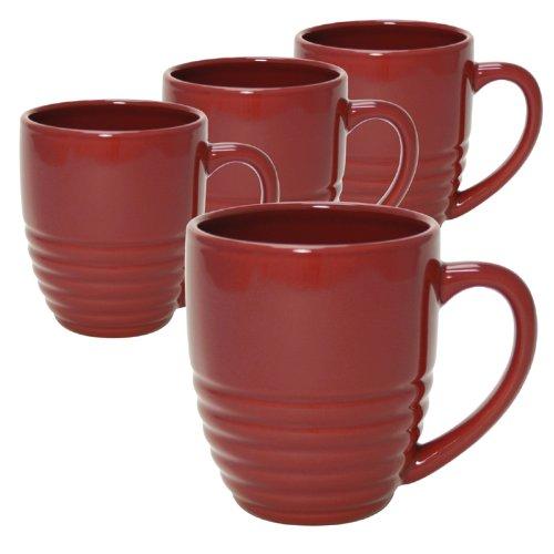 - Chantal Set of 4 20-Ounce Ring Mugs, Glossy Apple Red