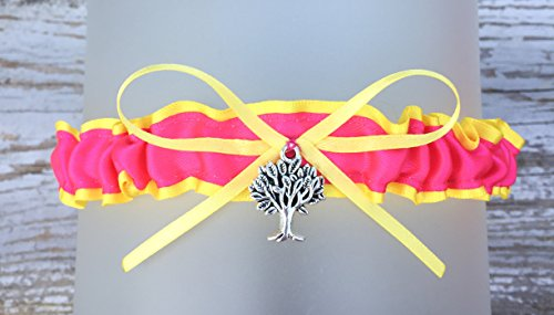 Plus Size Barista Costumes (Bright Yellow Hot Pink Satin Toss Garter - Pick A Charm)