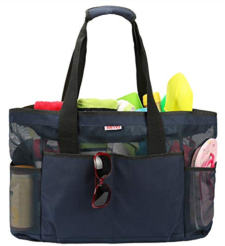 Dark Mesh amp; blue Grocery Large Travel Bags Picnic Bag extra Beach Tote Bv6SnwAgrB