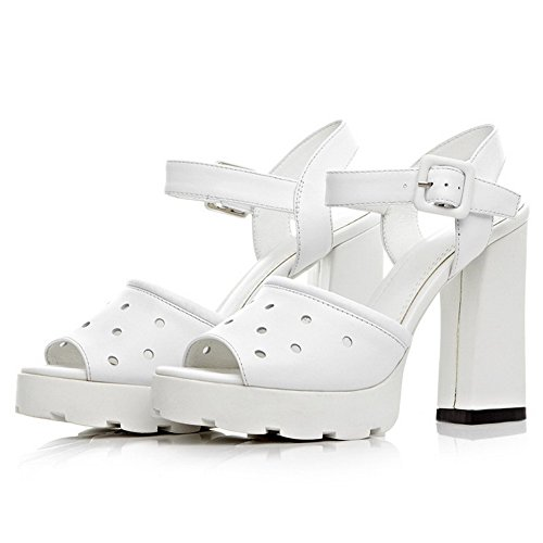 AmoonyFashion Womens Solid Cow Leather High-Heels Peep Toe Buckle Sandals White PT8hcty