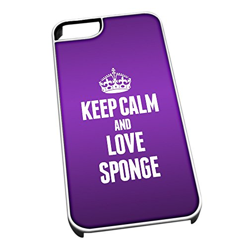 Bianco Cover per iPhone 5/5S 1549 Viola Keep Calm And Love spugna