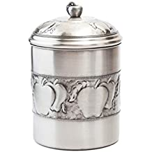 Old Dutch Antique Embossed Apple Cookie Jar with Fresh Seal Cover, 4 qt., Antique Pewter
