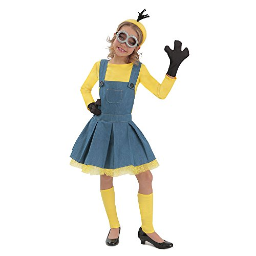 Deluxe Minion Girl Jumper Costume for Kids, Yellow, Blue, Small (6) -