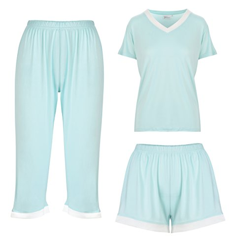 Bamboo Pajamas for Women | Soft 3 Piece PJ Set and Gift Box | Womans Pajama Pants Loungewear, Shorts & Top | Ladies Moisture Wicking Sleepwear Set Mint]()