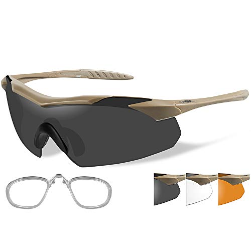 Lenses X Wiley Prescription (Wiley X Vapor Sunglasses - Smoke Grey/Clear/Rust Lens - Tan Frame w/. [3512RX])
